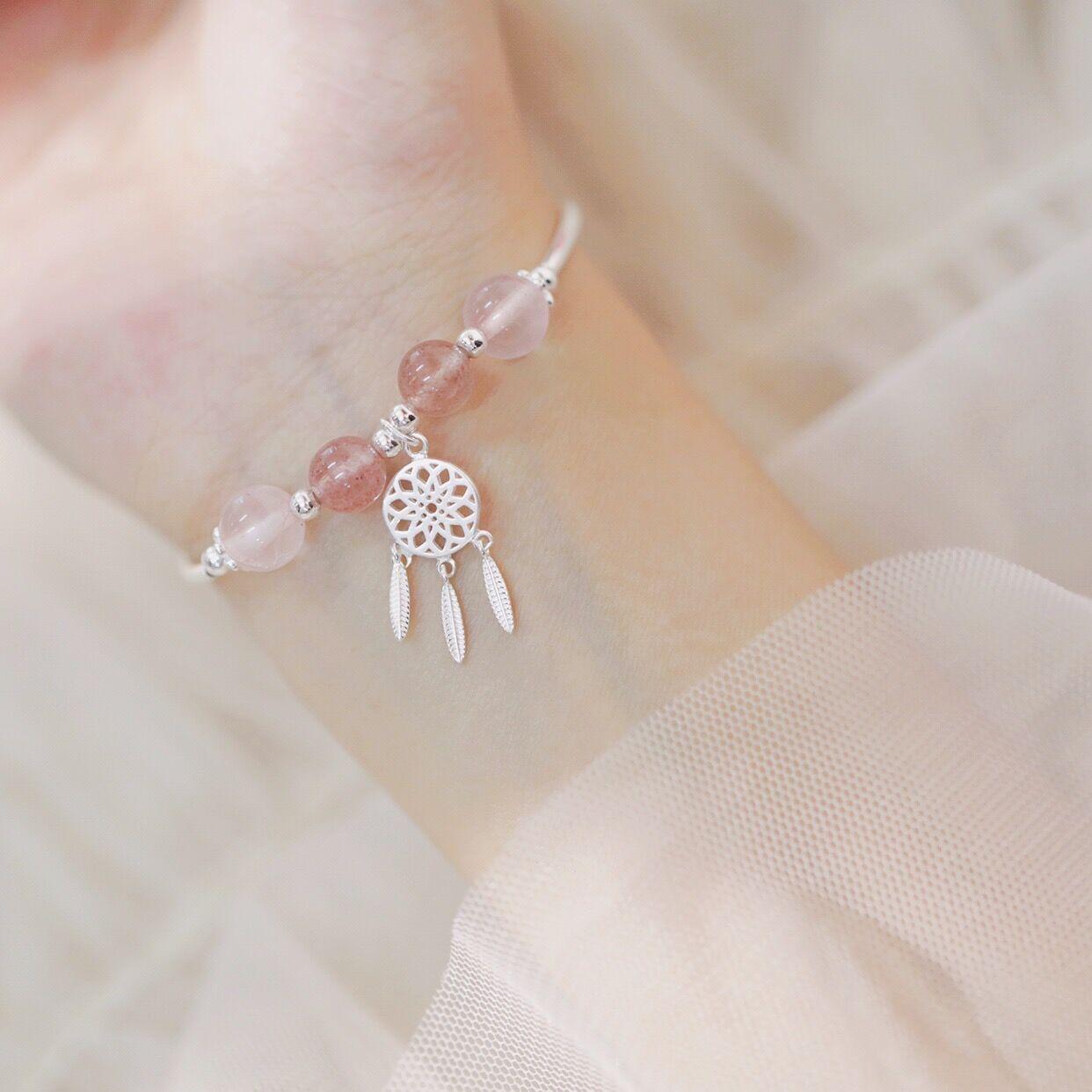 通體925銀草莓晶捕夢網手鏈甜美清新創意森林系學生手環韓版飾品