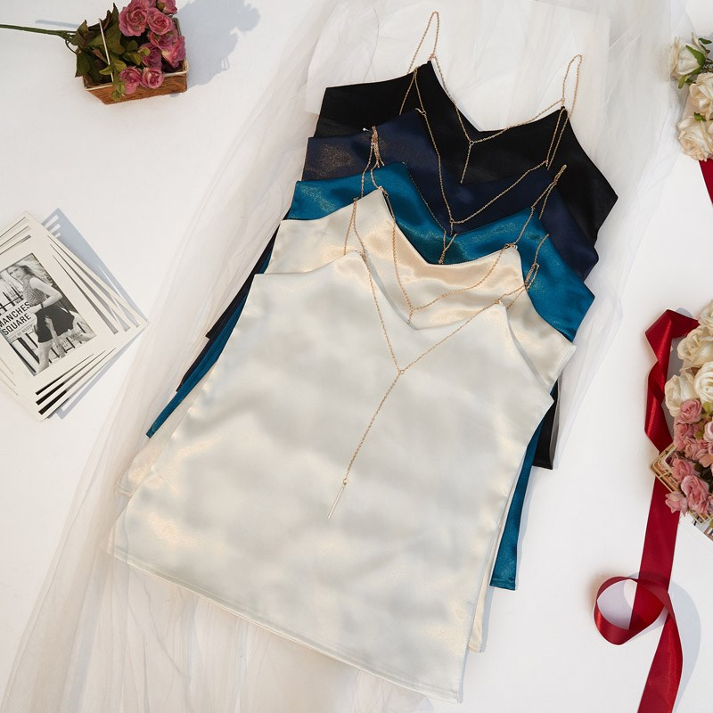 DW spring and summer new solid color outerwear sexy V-neck Satin chain with bottom silk suspender vest