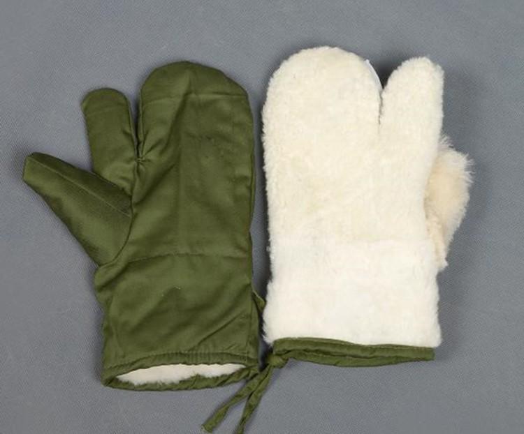 东北保暖真羊毛手套皮毛一体户外骑行防风冷库三指防寒棉手套男女