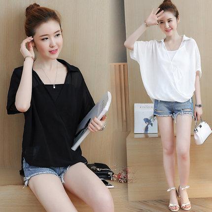 2019夏季蝙蝠衫两件套韩版潮雪纺衫