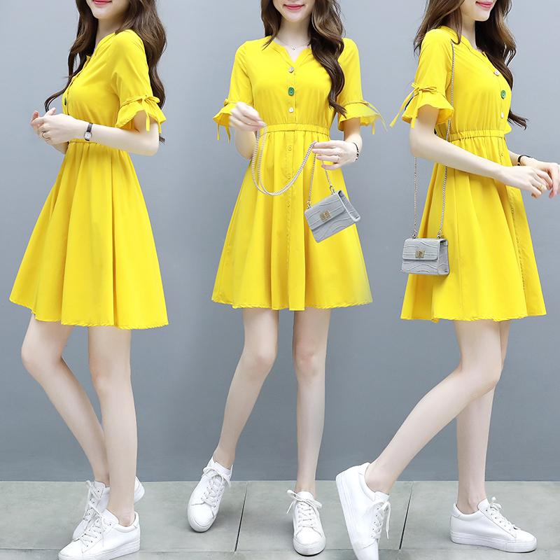 2019流行夏季女新款韓版甜美仙女超仙森系顯瘦收腰氣質連衣裙子潮