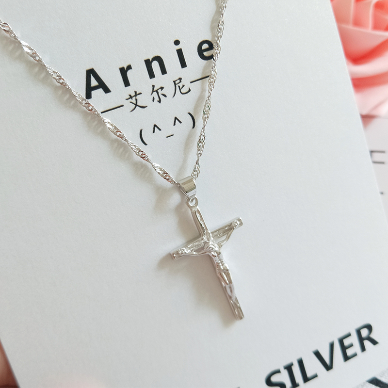 Sterling Silver Necklace, female Jesus Cross S925 silver pendant, simple temperament, clavicle chain, mans birthday present is fashionable and retro