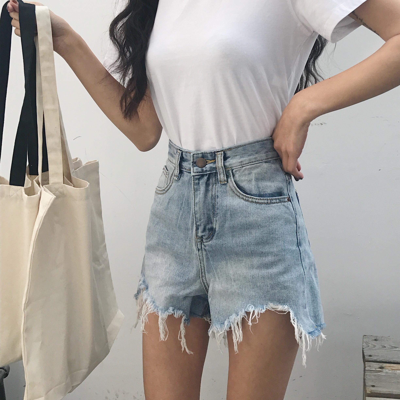 复古港味夏装2018新款女装裤子高腰显瘦显高不规则毛边牛仔短裤潮