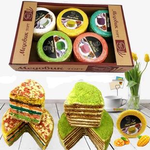 網紅俄羅斯風味提拉米蘇蜂蜜奶油夾心麥片彩虹千層生日蛋糕包郵