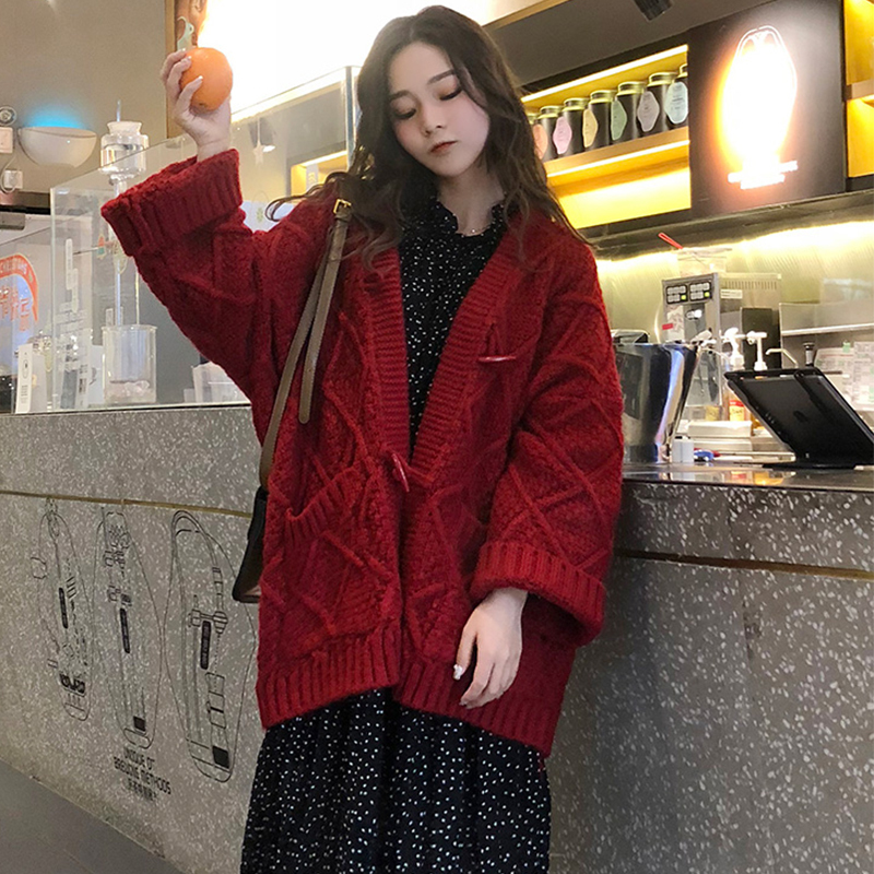 Autumn and winter new womens wear thick wool thickened sweater womens cardigan coat thick stick needle net red lazy wind loose top