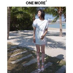 ONE MORE2019夏季新款白色拼纱字母宽松短袖T恤连衣裙