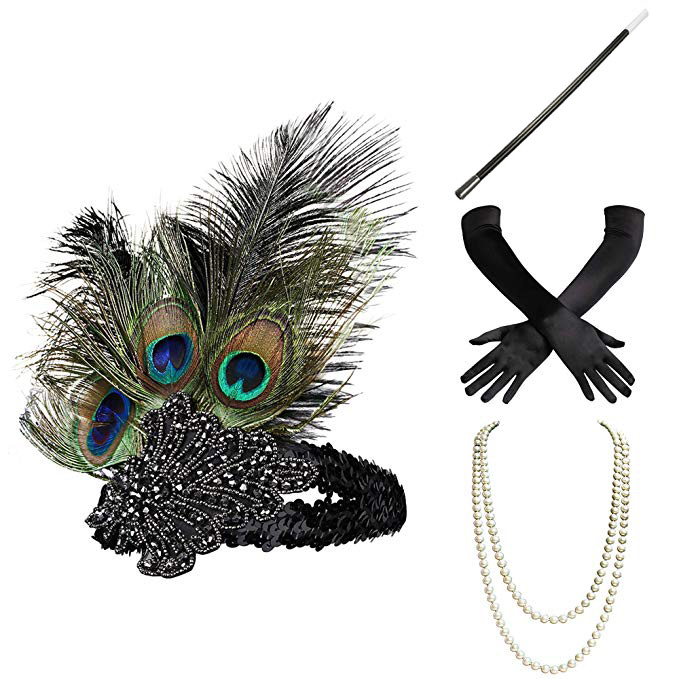 1920s Gatsby名媛聚会宴会礼服配饰新娘头饰欧美复古羽毛发饰头带
