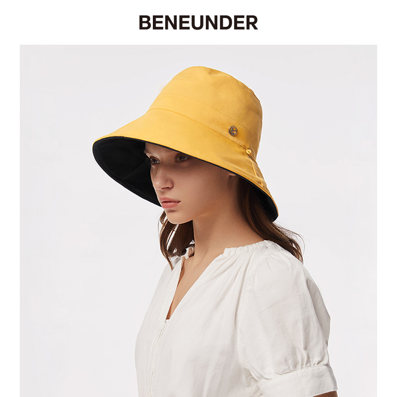 Beneuder under the banana fisherman's Hat Women's double-sided versatile sun hat with large eaves sun hat in spring and summer