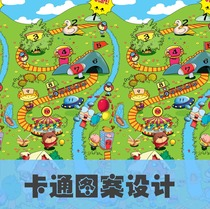 Cartoon pattern design climbing pad pattern design printing design towel pattern design bed sheet pattern
