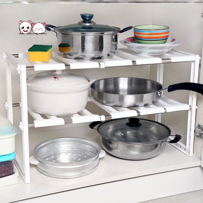 Retractable products partition economical shelf double deck household kitchen shelf fixed stainless steel simple under sink