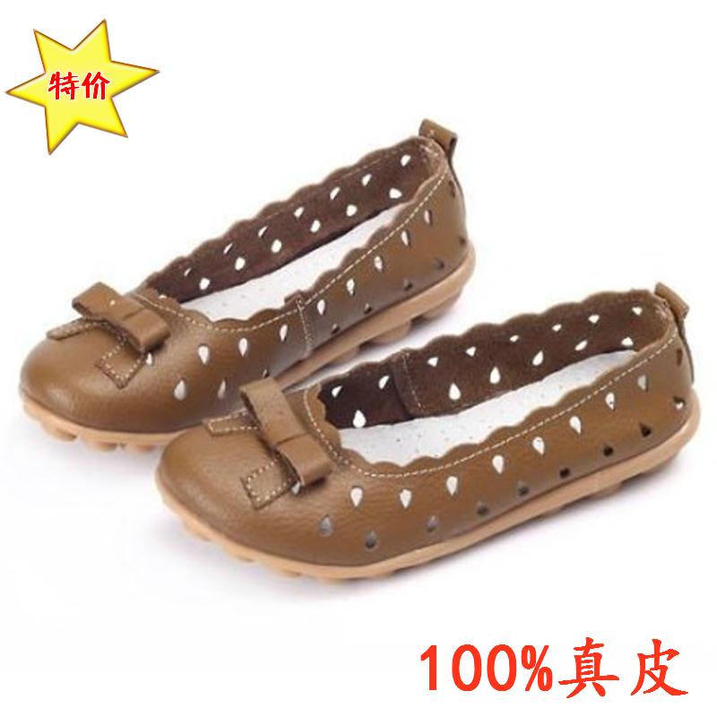 Противоскользящие кожи возрасте мама ботинки имеют горох говядины нижней плоский кожаный мягкий единственным обувь с обувь полые отверстия с плоским дном