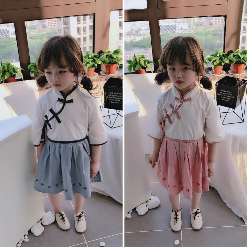 限3000张券2019夏季新款女童洋气中国风连衣裙