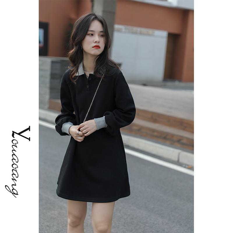 「又巷」秋装中长款2020年新款气质长裙女Polo领连衣裙+送链条包