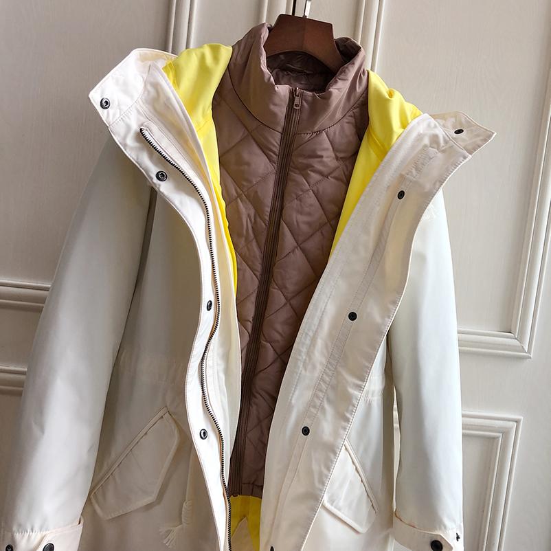 高品质时尚~马卡龙色防风风衣宽松户外冲锋衣外套可脱卸全棉内胆