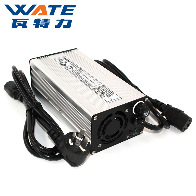 67.2V4A充电器 16S 60V锂电池智能充电器 银色铝壳带风扇 WATE