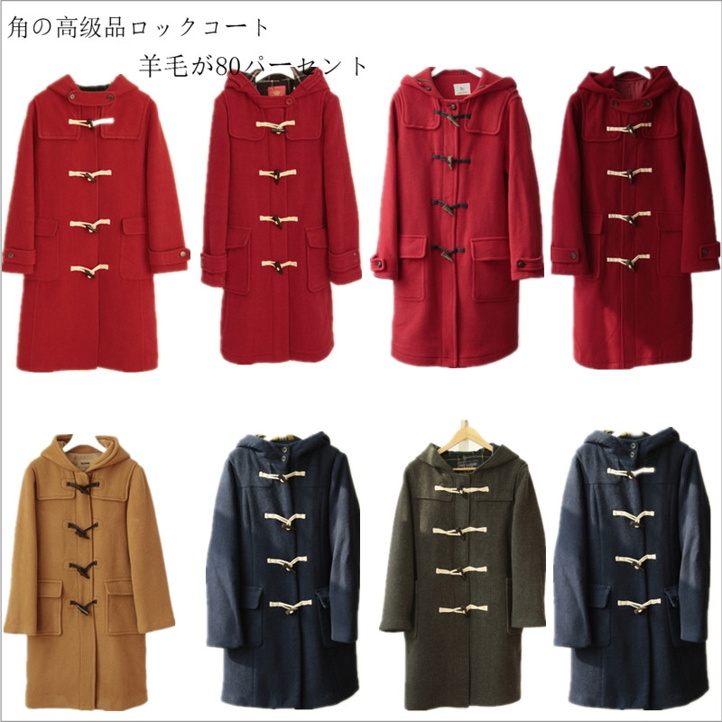 Top grade cow horn buttoned tweed coat womens autumn and winter double faced wool warm medium long straight tube hooded Korean coat M / L