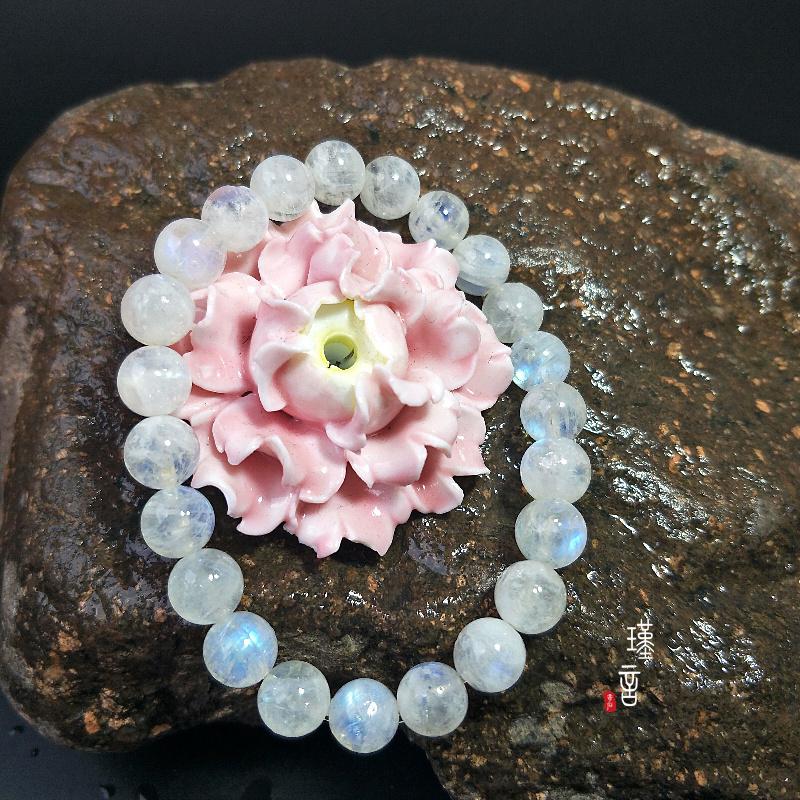 天然水晶蓝月光石手链女单圈多圈冰种带蓝光白月光石水晶手串礼物