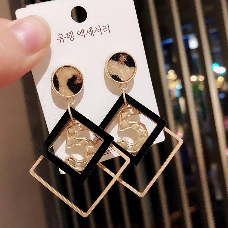 韩国2019夏季新款时尚夸张几何豹纹耳环耳坠925银针耳钉耳饰女