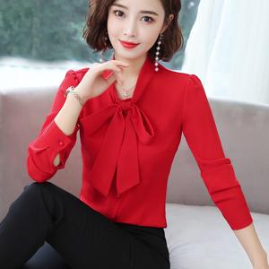 雪纺衬衫女长袖2020春装新款韩版修身显瘦气质蝴蝶结系带职业衬衣图片
