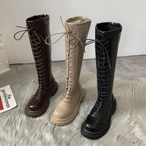 不过膝骑士长筒靴子ins潮2021年夏季新款帅气厚底马丁靴女英伦风