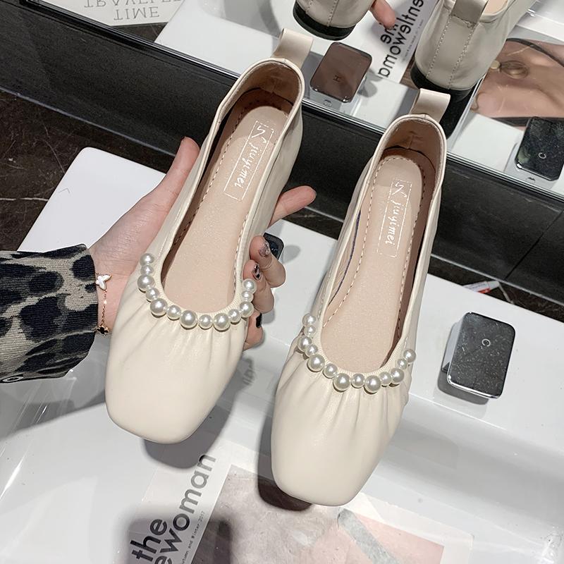 平底单鞋女浅口2021春季新款方头软底温柔女士豆豆鞋女复古奶奶鞋