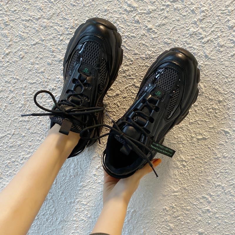 小黑鞋ins街拍潮鞋2019新款松糕底女鞋韩版百搭厚底老爹运动鞋子