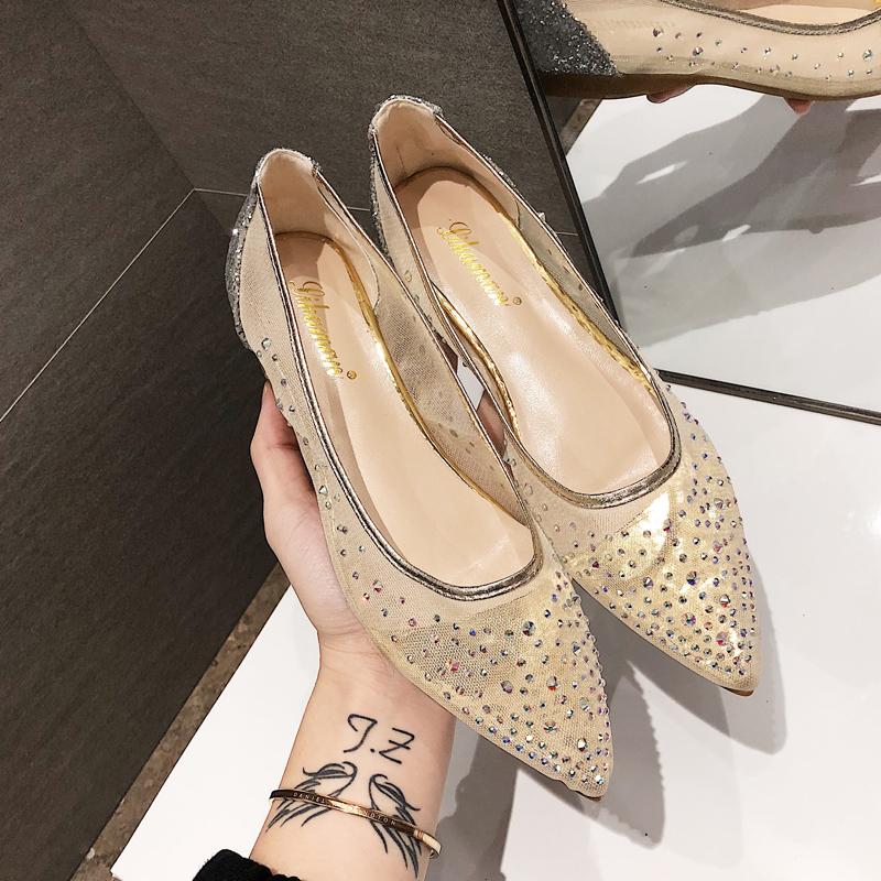 2019新款chic满天星网纱仙女鞋平底婚鞋韩版尖头浅口平底水钻单鞋
