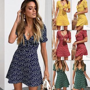 Ebay速賣通亞馬遜熱銷爆款春夏新品時尚女裝印花V領短袖連衣裙