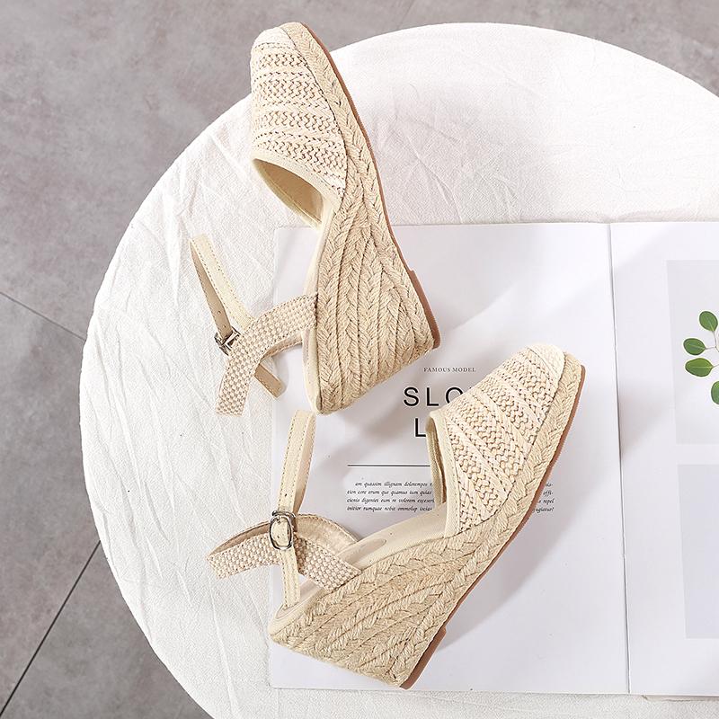 草编坡跟包头女凉鞋2020夏季新款仙女风高跟亚麻底罗马鞋渔夫鞋
