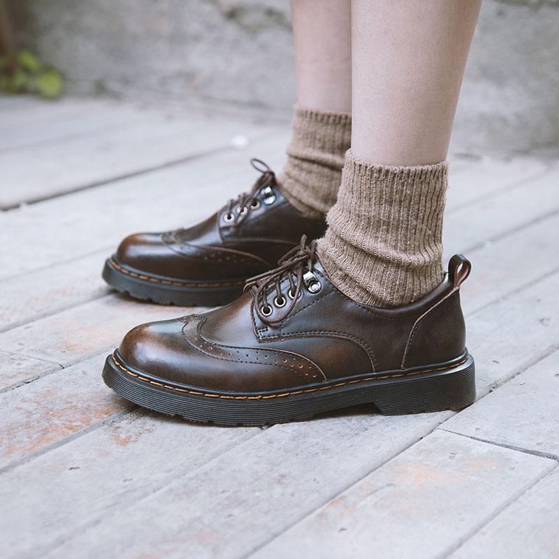 伯爵猫软皮秋季小皮鞋圆头复古森系单鞋学院英伦风布洛克女鞋平底