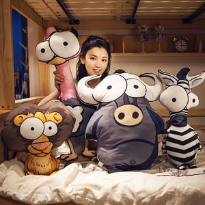 卡通汽车毛绒动物抱枕床头大靠背靠垫办公室沙发靠枕卧室床上可爱