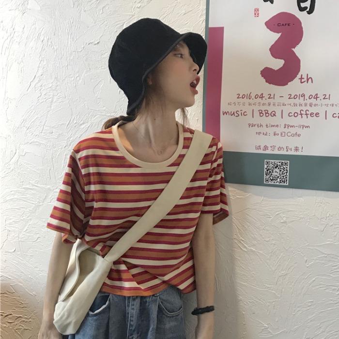 短款打底衫女装2020新款夏装宽松条纹短袖T恤心机上衣设计感ins潮