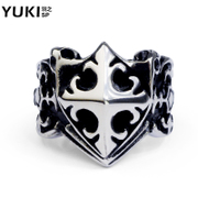 YUKI self-defense of the Knights cross titanium steel men''s rings in Europe and fashion personality index finger ring City boy accessories