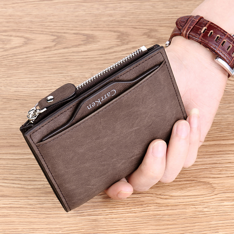 CK mens wallet short ultra thin multifunctional wallet drivers license integrated bag zipper multi card card bag