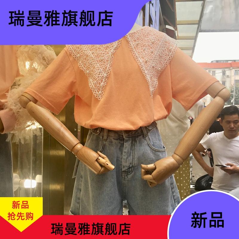夏装新款蕾丝大翻领娃娃领棉质短袖T恤女糖果色宽松可爱打底上衣
