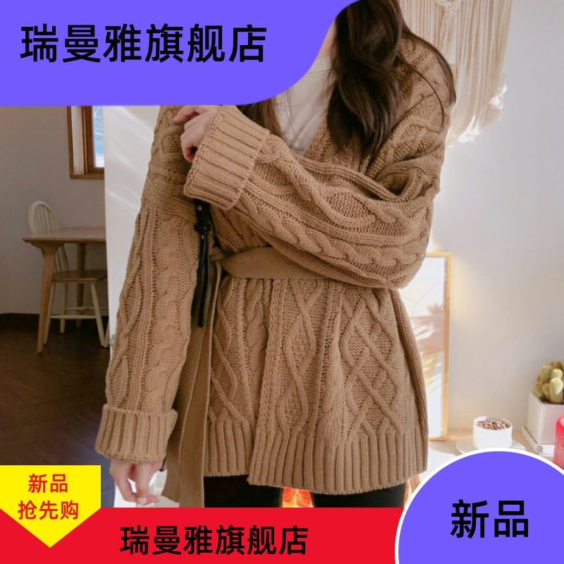 Languid Sweater Jacket Womens middle and long loose spring spring new Korean version of thin linen pattern knitted cardigan
