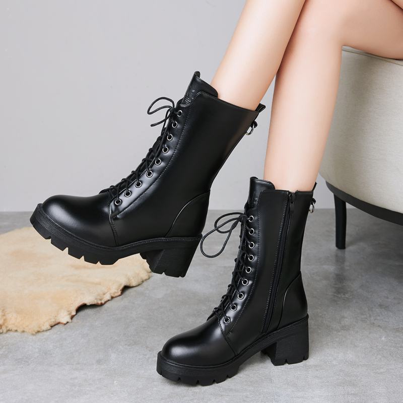 Fall / winter 2020 high heel Martin boots leather wool short boots locomotive boots thick heel waterproof platform British wind cotton leather boots