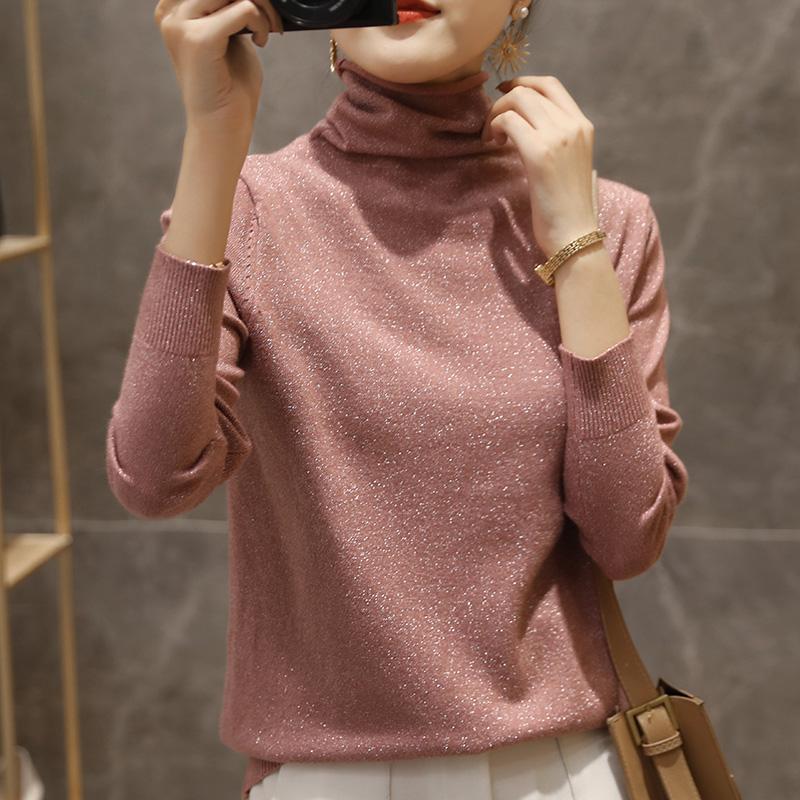 堆堆领打底衫女秋冬羊毛衫洋气亮丝长袖修身针织衫内搭高领毛衣