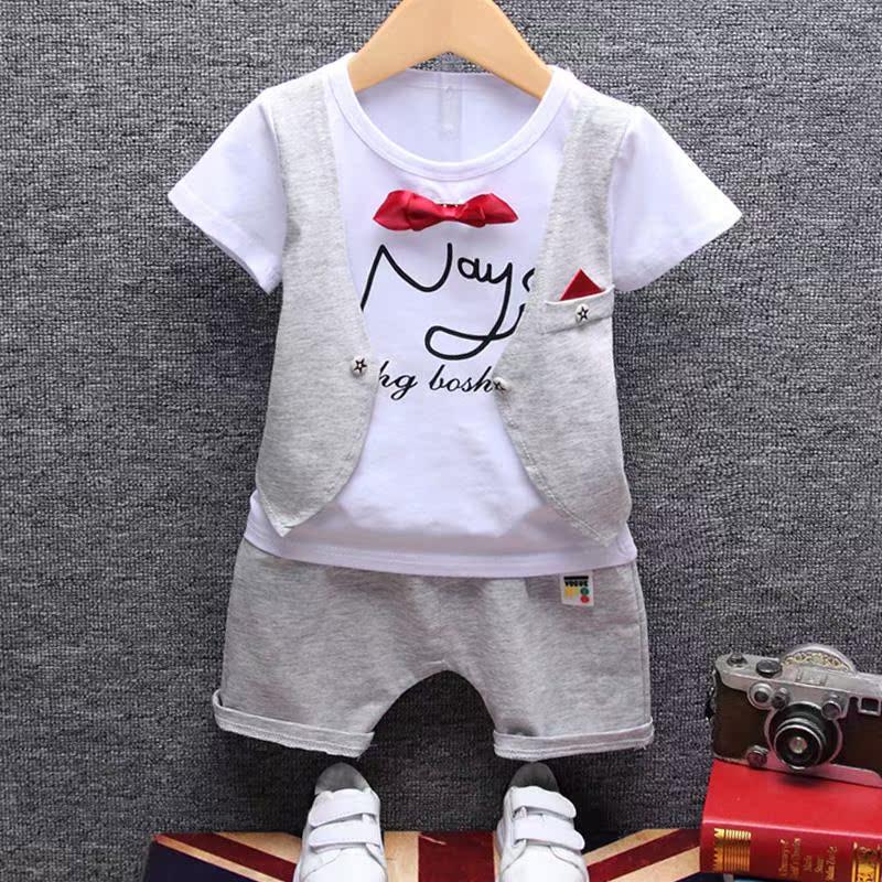 童装短袖套装翻领领带小礼服假背心夏装两件套1-3岁男童休闲潮服