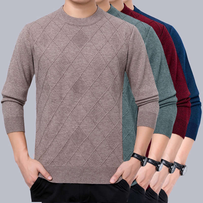 New winter fathers round neck casual sweater cashmere sweater mens middle-aged and old warm thick bottomed sweater