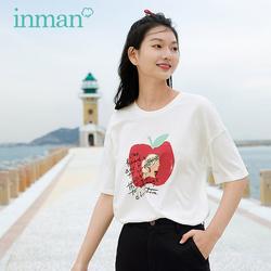 茵曼白色短袖t恤女印花纯棉2021夏季新款圆领宽松打底衫上衣半袖