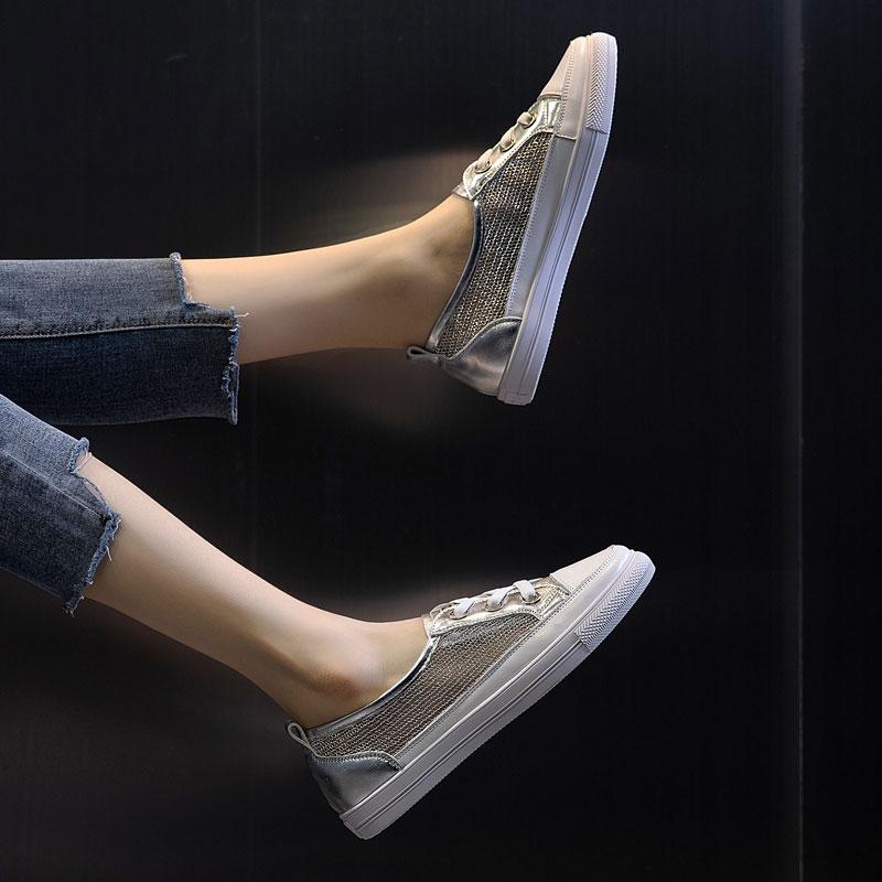 浅口网面小白鞋女2019夏款真皮百搭透气大码女鞋41-43夏季平底40