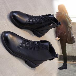 真皮马丁靴女秋冬加绒加厚网红靴子2020新款百搭平底大码粗跟短靴