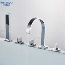 Waldorf square hot and cold water bathtub faucet five sets of split sitting bathtub edge 5-hole shower H542