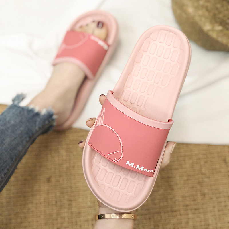 Hooligan rabbit slippers female summer home anti slip wear indoor home bath couple net red fashion sandals male