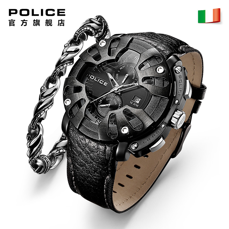 Police watch, watch, quartz watch, man watch, authentic large dial watch, men's fashion new European and American Watch