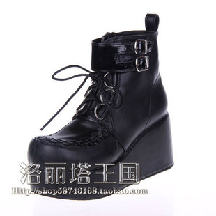 New LOLITA PUNK shoe lace boots heavy bottomed platform shoes black 9710