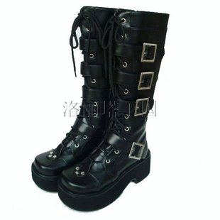 PUNK LOLITA shoe line muffin skin buckle boots high boots black 9708
