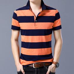1801 男士短袖t恤 男装青年条纹T恤翻领POLO衫夏季P65 桔色