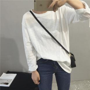 长袖白t恤简约纯色百搭宽松打底衫